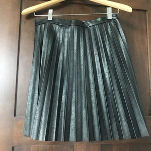 J. Crew faux leather black pleated mini skirt